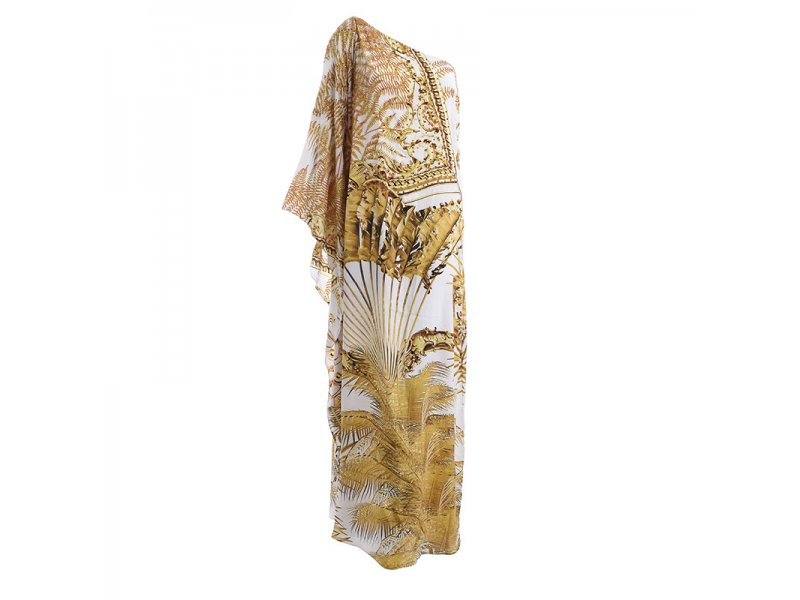 635552723a1 Φόρεμα Μακρύ με Ένα Ώμο Λευκό/Χρυσό One Size